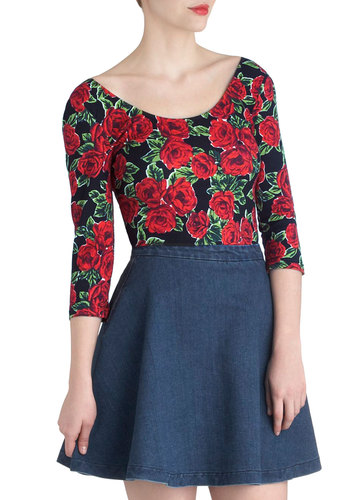 Bed of Roses Top by Mink Pink - Red, Green, Black, Floral, Casual, Vintage Inspired, 80s, Long Sleeve, Mid-length, 90s, Scoop