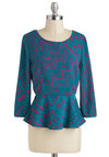 Scherenschnitte Top - Mid-length, Multi, Blue, Purple, Print, Work, Peplum, Long Sleeve, Exposed zipper