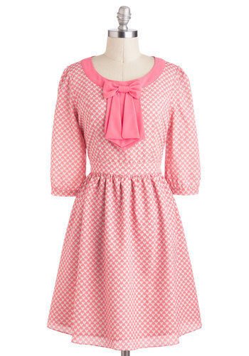 Got to Have Love Dress - Mid-length, Pink, White, Novelty Print, Bows, Casual, Vintage Inspired, A-line, 3/4 Sleeve