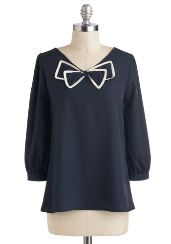 Bow Tied and True Top - Mid-length, Blue, White, Solid, Bows, Work, Vintage Inspired, 3/4 Sleeve, Blue, 3/4 Sleeve