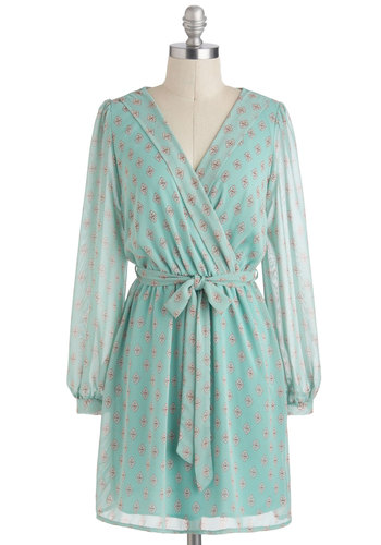 Interior Decorum Dress - Mint, Tan / Cream, Print, A-line, V Neck, Sheer, Short, Daytime Party, Long Sleeve, Belted, Pastel