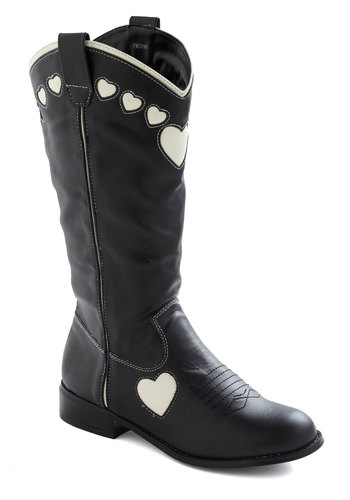 Love Walks In Boot - Black, White, Cutout, Casual, Faux Leather, Low