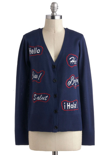 Fashionably Translate Cardigan - Blue, White, Buttons, Long Sleeve, Embroidery, Casual, Quirky, Mid-length, Winter, Travel