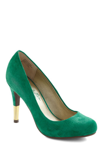 Dipped in Gold Heel by Seychelles - High, Green, Gold, Solid, Party, Holiday Party, Vintage Inspired