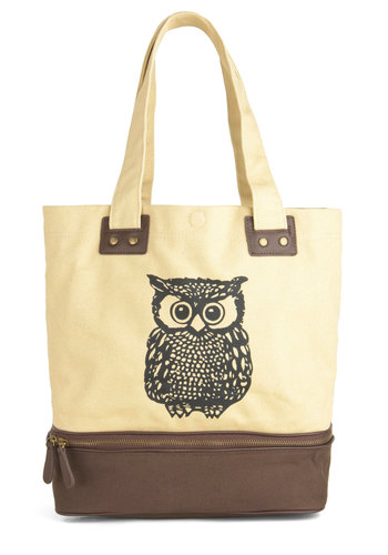 Owl Tote Your Things Bag - Cream, Brown, Black, Print with Animals, Exposed zipper, Studs, Owls, Cotton