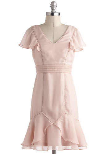 Rose Quartz Reverie Dress - Pink, Solid, Ruffles, Wedding, Party, Sheath / Shift, Short Sleeves, Chiffon, Short, Pastel, Bridesmaid, Prom