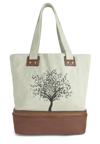 Leaf Your Things With Me Bag - Green, Brown, Black, Print, Exposed zipper, Studs, Eco-Friendly