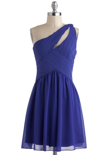 Ballroom Belle Dress - Blue, Party, A-line, Mid-length, Cutout, Solid, One Shoulder, Prom, Formal