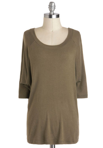 Great Plains Portrait Sweater - Mid-length, Tan, Solid, Casual, 3/4 Sleeve, Travel, Green, 3/4 Sleeve