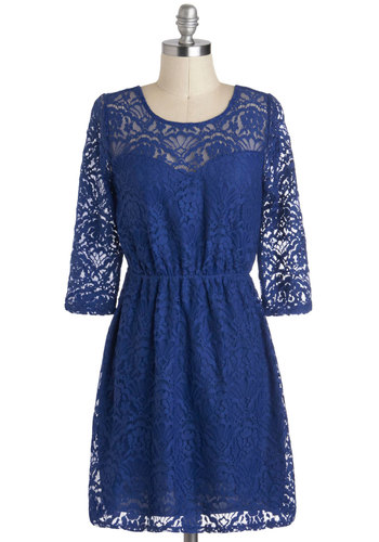 Morning Glorious Dress - Short, Blue, Lace, A-line, 3/4 Sleeve, Party, Solid