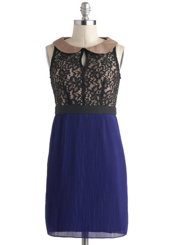 My Two Sense Dress - Blue, Lace, Shift, Sleeveless, Sheer, Short, Tan / Cream, Black, Peter Pan Collar, Party, Twofer, Collared, Pleats
