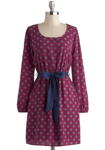 Let's Polka Dot Dress - Mid-length, Blue, Grey, Polka Dots, Pockets, Belted, Casual, A-line, Long Sleeve, Purple, Winter
