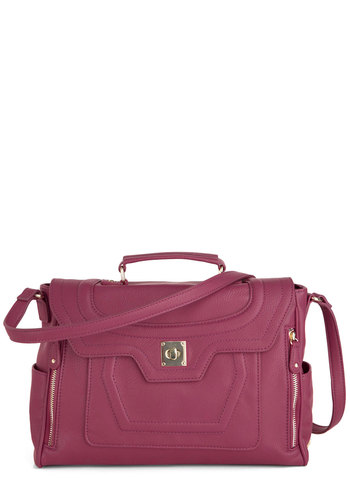 Let's Swing Along Bag - Pink, Solid, Exposed zipper