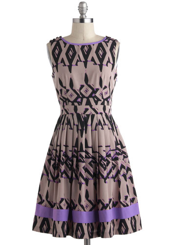 Mixer and Shaker Dress - Purple, Black, Pleats, Trim, A-line, Sleeveless, Tan, Mid-length, Print, Buttons, Vintage Inspired