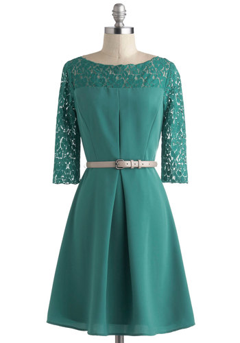 Night at the Conservatory Dress - Green, Solid, Lace, Pleats, Party, Vintage Inspired, 40s, 3/4 Sleeve, Winter, Mid-length, Belted, Holiday Party, A-line