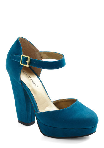 Trip to the Tropics Heel in Island Blue - Blue, Solid, High, Mary Jane, Chunky heel