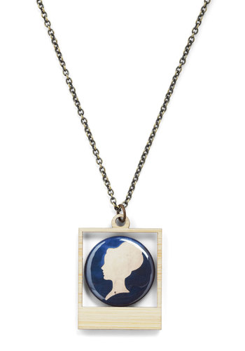 Picture Bliss Necklace in Silhouette - Blue, Print, Chain, French / Victorian, Graduation