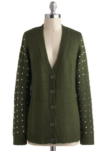 Go for a Spike Cardigan - Mid-length, Green, Solid, Buttons, Studs, Casual, Long Sleeve, Urban, Travel