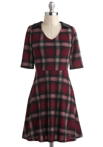 Prepped for Success Dress - Short, Red, Black, Grey, Plaid, Work, Casual, Scholastic/Collegiate, A-line, Short Sleeves, Collared