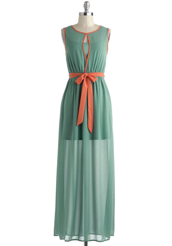 Age of Aquamarine Dress - Orange, Solid, Casual, Maxi, Sleeveless, Chiffon, Long, Cutout, Mint, Belted, Pastel, Beach/Resort