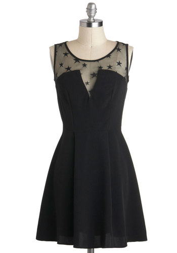 Written in the Stars Dress - Black, Solid, Pleats, Party, A-line, Tank top (2 thick straps), Sheer, Girls Night Out, Short