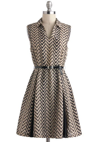 Entranced if You Want To Dress - Mid-length, Tan / Cream, Black, Print, Pleats, Work, A-line, Sleeveless, Collared, Belted, Exclusives, Chevron