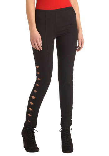 Love that Lattices Pants - Cotton, Black, Solid, Cutout, Casual, Urban, Skinny