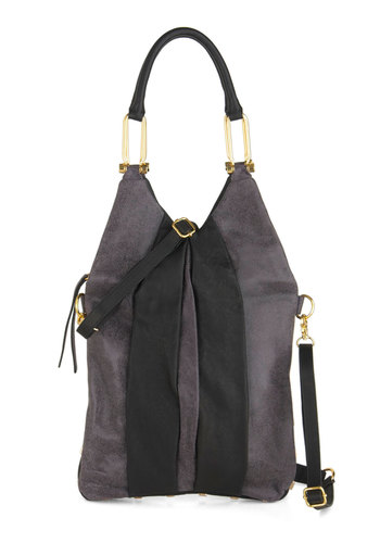 Brilliant Finish Bag - Leather, Grey, Studs, Luxe, Urban, Black