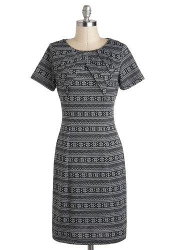 Snowing Places Dress - Black, Print, Work, Sheath / Shift, Short Sleeves, Mid-length, Grey