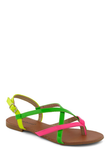 Neon Your Way Sandal - Multi, 80s, Flat, Beach/Resort, Neon, Vintage Inspired, Summer