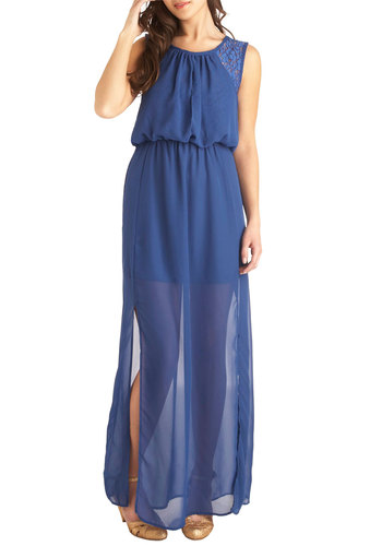 Destination Daydream Dress - Blue, Solid, Lace, Casual, Maxi, Chiffon, Sheer, Long, Sleeveless, Beach/Resort, Summer