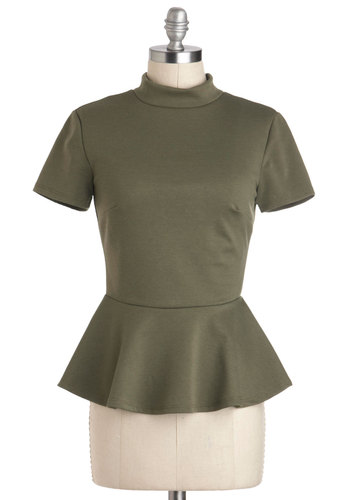 Ski Lodge Brunch Top - Mid-length, Green, Solid, Work, Peplum, Short Sleeves