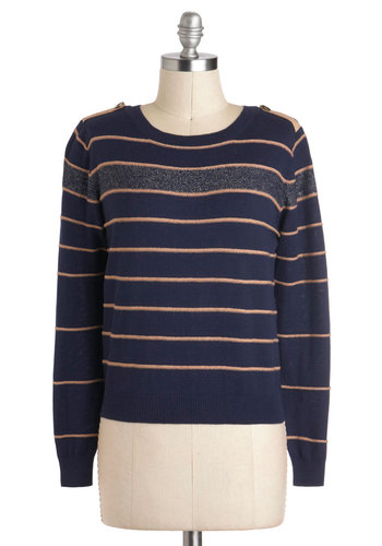 Rules of Engaging Sweater - Blue, Yellow, Grey, Stripes, Scholastic/Collegiate, Long Sleeve, Short
