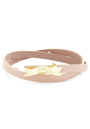 Tied with a Bow Belt in Rose Quartz - Pink, Solid, Bows, Faux Leather, Gold, Variation