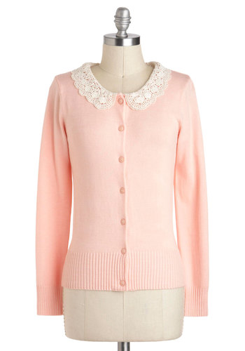 Cut and Pastel Cardigan - Pink, Crochet, Work, Vintage Inspired, Long Sleeve, Buttons, Short, Pastel