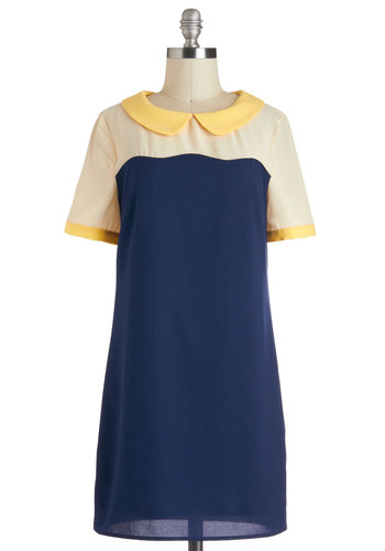 Sweet and Then Some Dress - Blue, Yellow, Tan / Cream, Peter Pan Collar, Casual, Shift, Short Sleeves, Collared, Sheer, Short, Colorblocking, 60s, Mod, Vintage Inspired