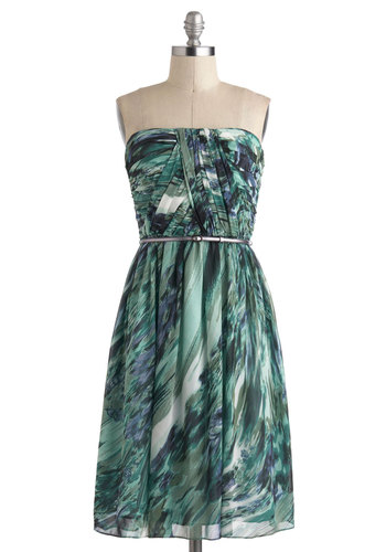 Time of My Life Dress in Sea - Mid-length, Green, Blue, White, Multi, Print, Belted, Ruching, Party, A-line, Strapless, Wedding, Spring, Prom, Bridesmaid, Better, Exclusives