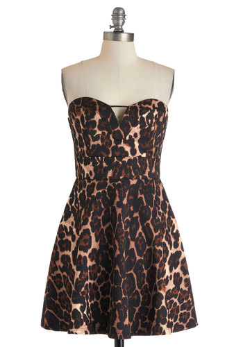 Play to Spin Dress - Animal Print, Girls Night Out, A-line, Strapless, Short, Brown, Tan / Cream, Black, Sweetheart