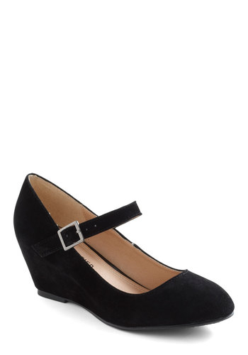 Every Walking Moment Wedge in Black - Black, Solid, Wedge, Mary Jane, Mid, Variation, Faux Leather
