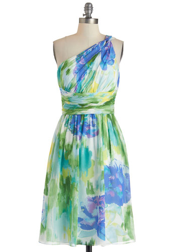 The Beauty of Brushstrokes Dress - Multi, Floral, Daytime Party, Empire, One Shoulder, Spring, Ruching, Long, Prom, Wedding, Chiffon, Bridesmaid