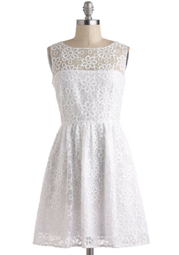RSV Pretty Dress by BB Dakota - Solid, Vintage Inspired, Sleeveless, Spring, White, Embroidery, Daytime Party, A-line, Wedding, Sheer, Mid-length, Graduation, Bride