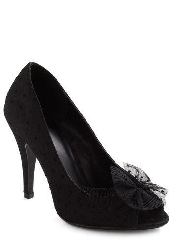 Chiaroscuro Allure Heel in Noir - Black, Polka Dots, Bows, Formal, High, Holiday Party, Variation