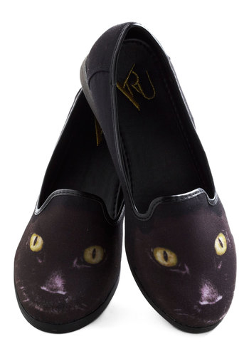 Feline Fortunate Flats - Black, Print with Animals, Quirky, Flat