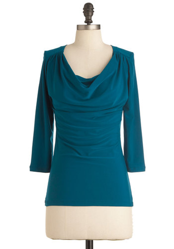 How to Deal Top in Teal - Casual, Blue, Solid, 3/4 Sleeve, Cowl, Variation, Mid-length, Basic, Blue, 3/4 Sleeve