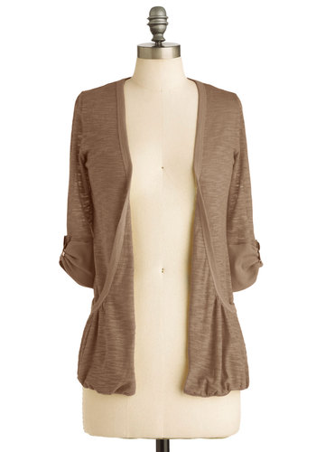 Ready, Sunset, Go Cardigan in Dusk - Brown, Solid, Casual, 3/4 Sleeve, Sheer, Mid-length, Fall