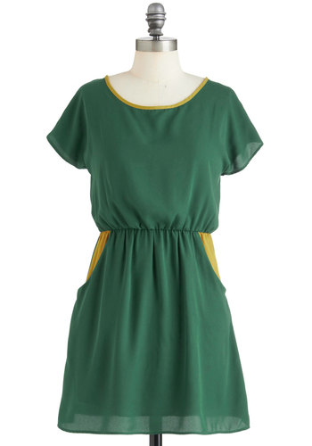 Riverside Regatta Dress - Short, Green, Yellow, Solid, Trim, Casual, Vintage Inspired, Short Sleeves, Summer