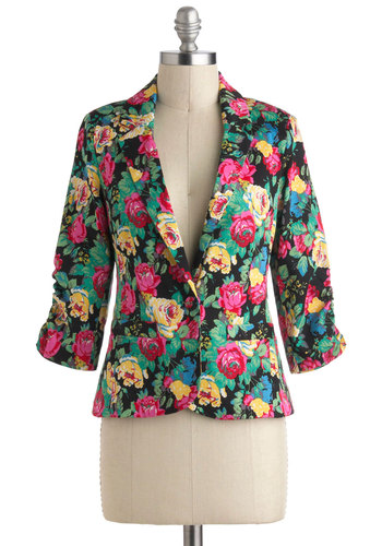 Take the Fleur Blazer - Yellow, Green, Blue, Pink, Black, Daytime Party, 3/4 Sleeve, 1, Cotton, Mid-length, Multi, Statement