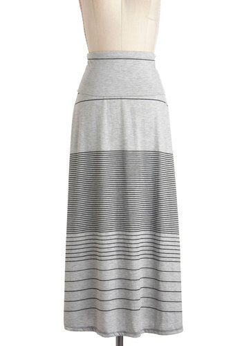 Java Jump Skirt in Grey - Grey, Black, Stripes, Casual, Maxi, Jersey, Long