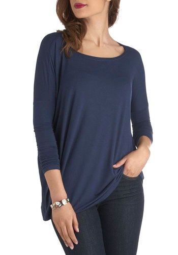 Simplicity Under the Sunrise Top in Navy - Mid-length, Blue, Solid, Casual, 3/4 Sleeve, Minimal, Variation