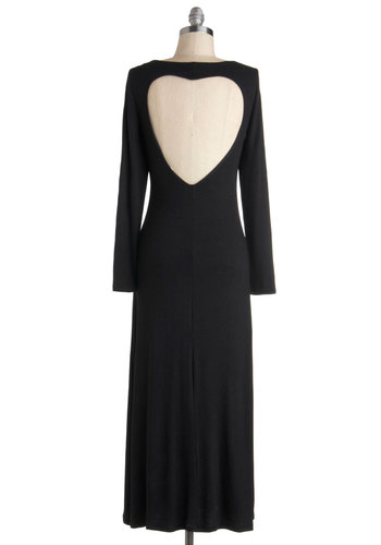 Welcome Backless Dress - Jersey, Long, Black, Solid, Backless, Casual, Maxi, Long Sleeve, Fall